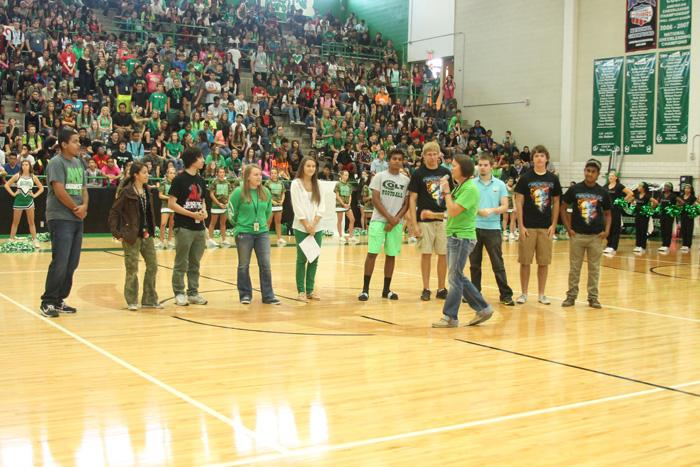 Principal Jennifer Young introduces the National Merit Scholar Commended Students and the National Hispanic Scholars during the pep rally on September 26. These students placed in the top 5% of more than 1.5 millions students on the 2012 PSAT.