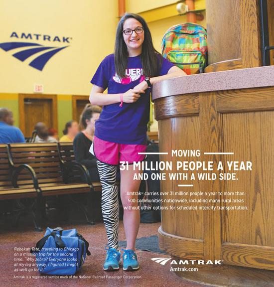 Senior Rebekah Tate is featured in an ad for Amtrak that ran in the October 24 edition of the Fort Worth Star-Telegram.