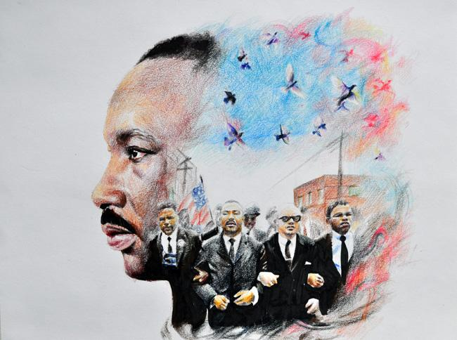 """Senior Thien Bui's artwork won top honors in the annual AISD Martin Luther King Jr. drawing contest in January. His colored pencil drawing captured the contest's theme, """"Tough Minds, Tender Hearts""""."""
