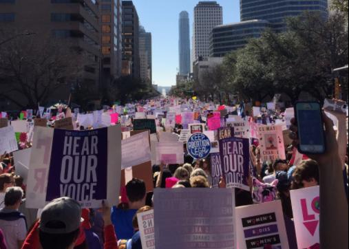 Mimi Schatzman, junior, attended the Women's March in Austin. She's not a Trump supporter and she wanted to be