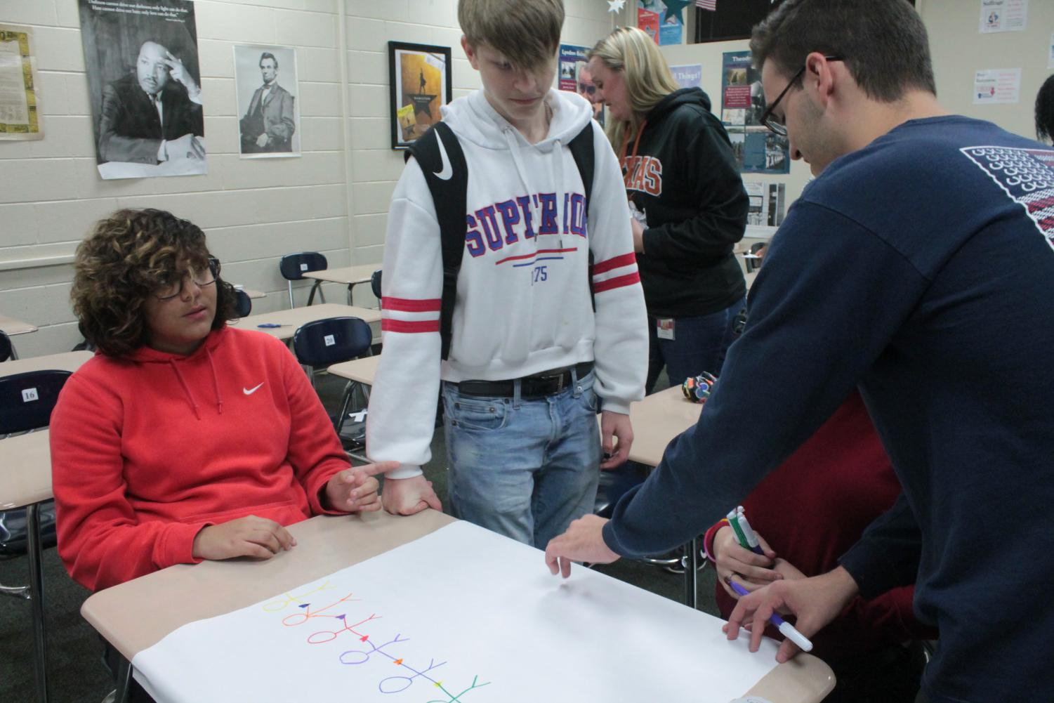 SPECTRUM Club president senior Teddy Holloway helps members design posters for national LGBTQ+ Bullying Awareness Day.